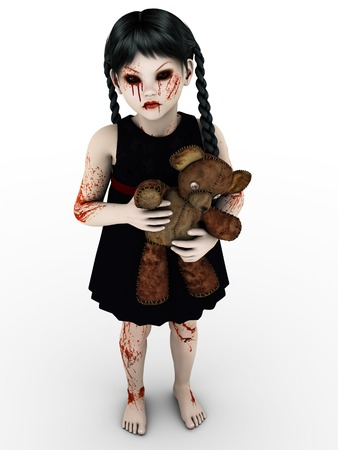 A gothic blood covered small girl. photo