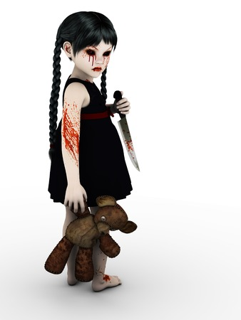 An evil gothic looking, blood covered small girl holding a teddybear and knife. White background. photo