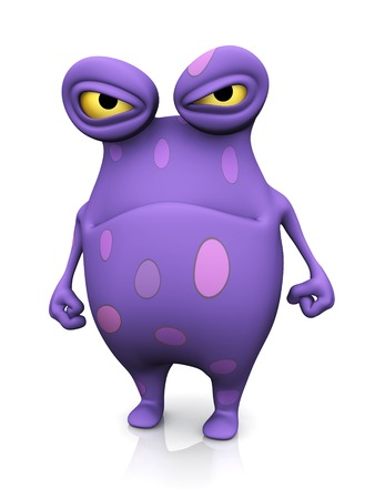 cute monster: A cute charming cartoon monster looking very angry. The monster is purple with big spots. White background.