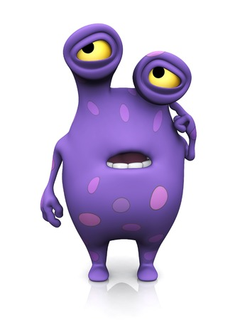 A cute charming cartoon monster looking like he is confused and thinking about something, scratching his head. The monster is purple with big spots. White background.