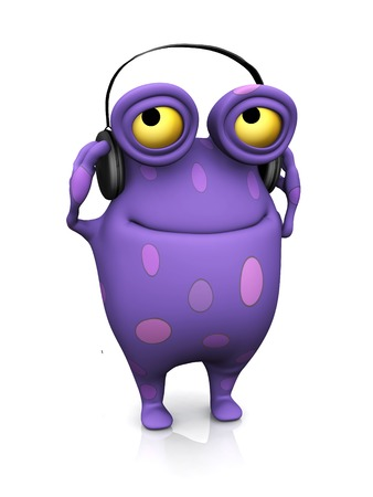 A cute charming cartoon monster listening to music in the headphones hes wearing. The monster is purple with big spots. White background. photo