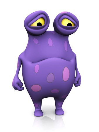 A cute charming cartoon monster looking very sad. The monster is purple with big spots. White background.