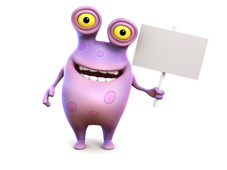 A smiling cute charming pink spotted cartoon monster holding a blank sign in his hand. White background. photo