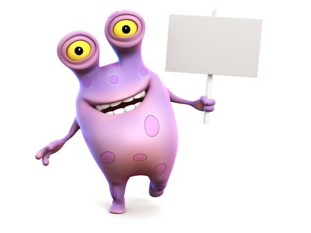 A smiling cute charming pink spotted cartoon monster holding a blank sign in his hand. White background. Stock Photo - 23933173