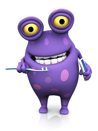 big teeth: A cute charming cartoon monster holding a toothbrush in one hand and toothpaste in the other, ready to brush his teeth. The monster is purple with big spots. White background.