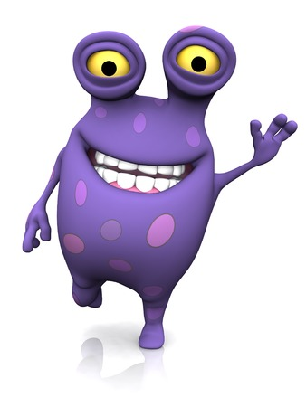 A cute charming cartoon monster waving its hand and looking very happy with a big smile. The monster is purple with big spots. White background.