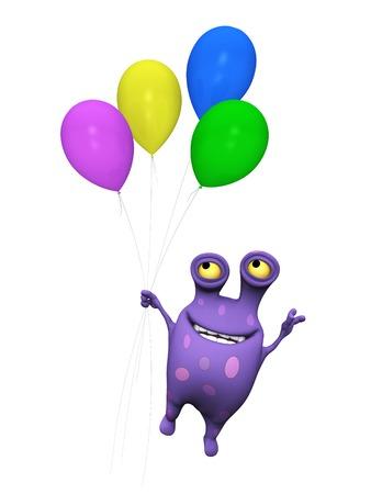 かわいい魅力的な漫画モンスターが色とりどりの風船の束を彼の手で押しながら飛び去る。怪物は大きなスポットと紫です。白い背景。