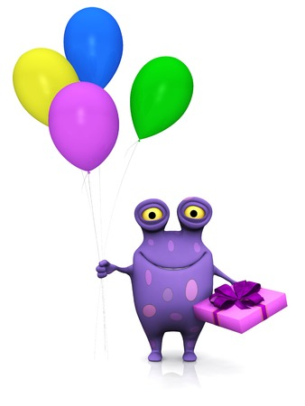 A cute charming cartoon monster holding a birthday gift in one hand and four colorful balloons in the other. Ready for a party! The monster is purple with big spots. White background. photo