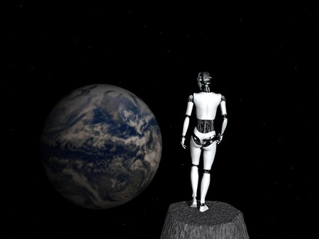 gazing: A robot woman standing in space, looking at earth
