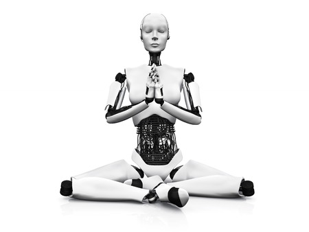 cross legged: A robot woman sitting on the floor and meditating, eyes closed  White background  Stock Photo