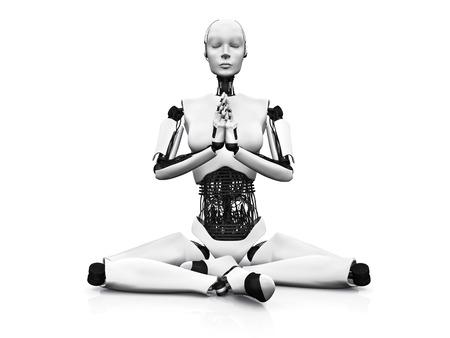 mindfulness: Een robot vrouw op de grond zitten en mediteren, gesloten Witte achtergrond ogen Stockfoto