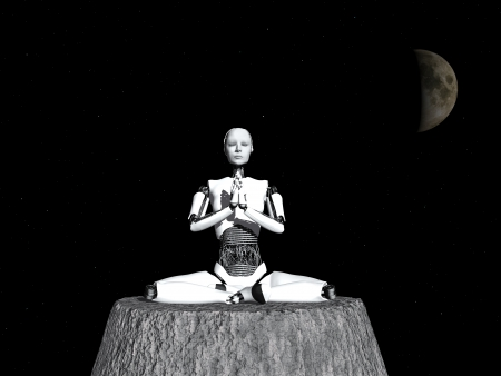 A robot woman sitting somewhere in space and meditating, eyes closed  photo
