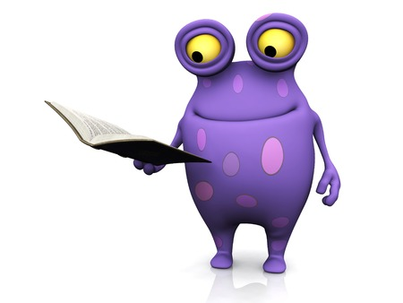 A cute charming cartoon monster reading a book he is holding in his hand. The monster is purple with big spots. White background. Stock Photo - 24259761