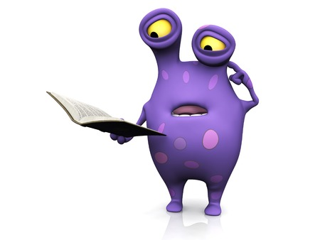 A cute charming cartoon monster reading a book and looking very confused. The monster is purple with big spots. White background. photo