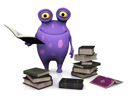 bibliophile: A cute charming cartoon monster holding a book in his hand. The monster is purple with big spots. He is surrounded by piles of books. White background.