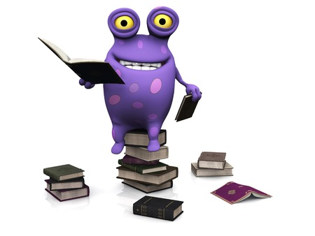 A cute charming cartoon monster sitting on a pile of books and reading. Several piles of books are on the floor around him. The monster is purple with big spots. White background. photo