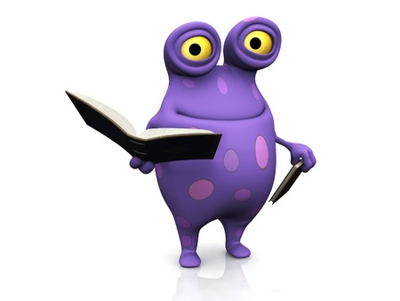 A cute charming cartoon monster holding books in his hands. The monster is purple with big spots. White background. Stock Photo - 24259765