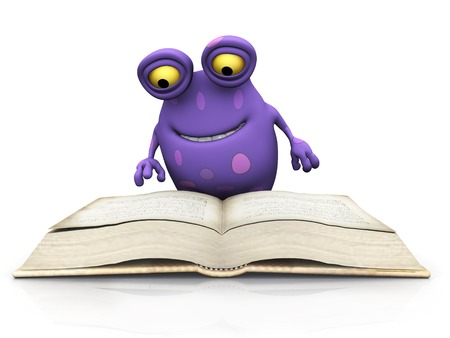 A cute charming cartoon monster sitting on the floor and reading a big book. The monster is purple with big spots. White background. photo