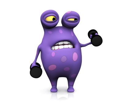 A cute charming cartoon monster exercising with dumbbells. Stock Photo - 24751561