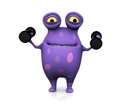 A cute charming cartoon monster exercising with dumbbells. Stock Photo - 24751565