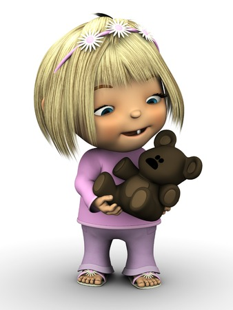 A cute toddler girl wearing pink clothes, smiling and holding a teddy bear stuffed animal toy  White background  photo