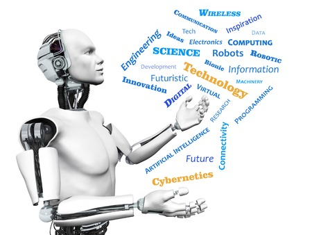 A male robot looking at a technology theme word cloud  White background  Stock Photo