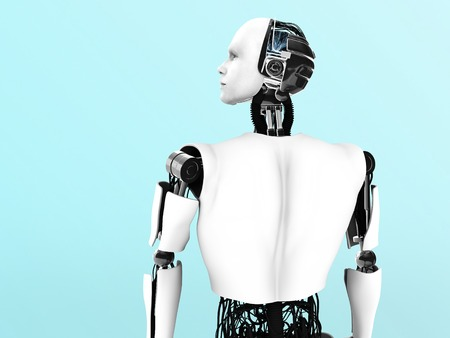 humanoid: A male robot gazing into the future