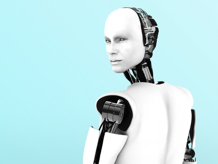 A male robot with his back against the camera, his head is turned and looking at you  Stock Photo