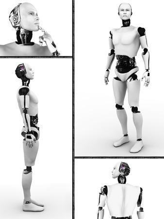 masculino: Collage con un macho robot cuatro diferentes puntos de vista de los antecedentes Blanco robot