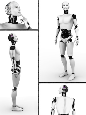 Collage with a male robot  Four different views of the robot  White background  photo