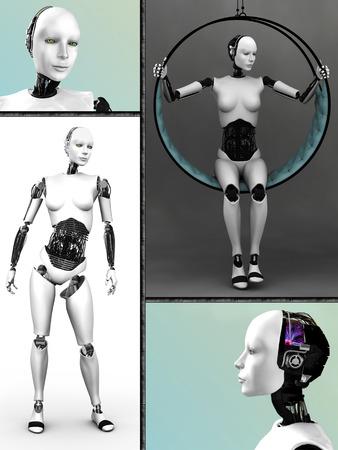女性型ロボットを用いたヒューマノイド ロボットの 4 つの異なるビューをコラージュします。