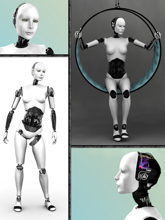 Collage with a female robot  Four different views of the humanoid robot Imagens - 26654361