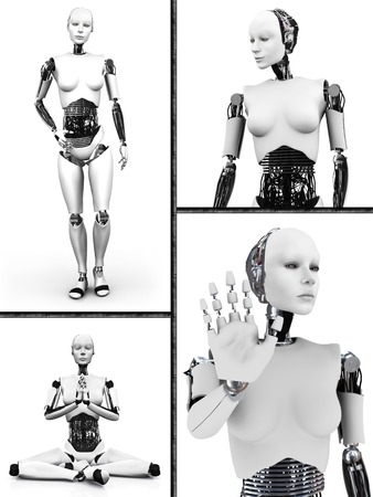 Collage with a female robot  Four different views of the humanoid robot  White background
