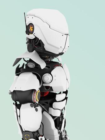 bluish: A portrait of a futuristic robot. Bluish background. Stock Photo