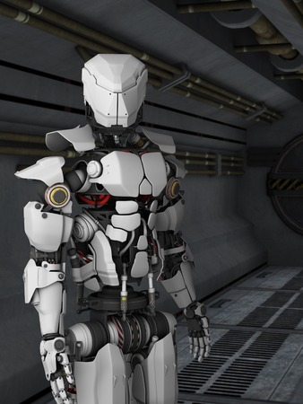A futuristic robot standing in a science fiction inspired corridor.
