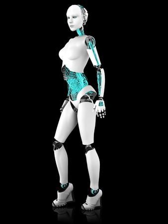 A sexy female robot in a standing pose. Black background. Stock Photo