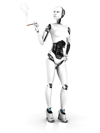 A sexy female robot smoking a cigar. White background.