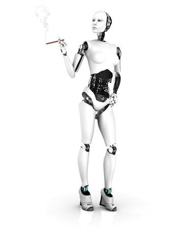 A sexy female robot smoking a cigar. White background.