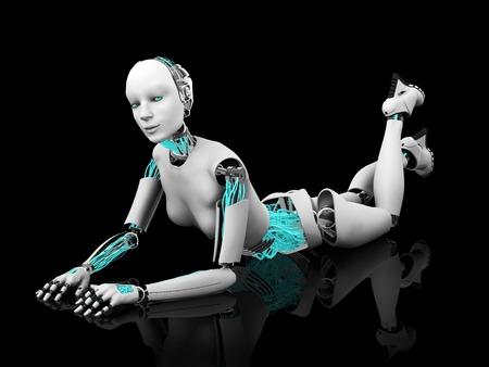 섹시한 여성 로봇은 바닥에 그녀의 뱃속에 누워. 검정색 배경.