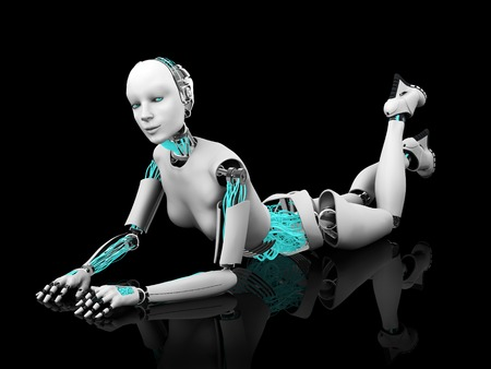 cyber woman: A sexy female robot lying on her stomach on the floor. Black background. Stock Photo