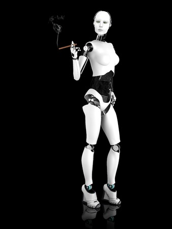 smoking woman: A sexy female robot smoking a cigar. Black background.