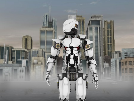 scifi: A futuristic robot standing in front of a science fiction inspired city. Stock Photo