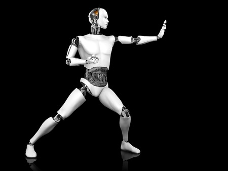 AI: A male robot standing in a fighting karate pose. Black background.