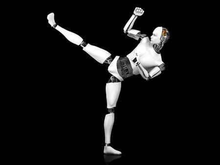 karate kick: A male robot doing a karate kick. Black background. Stock Photo