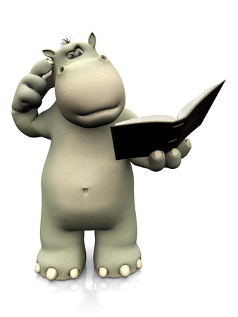 scratching: A cartoon hippo reading a book and looking very confused, scratching his head. White background. Stock Photo
