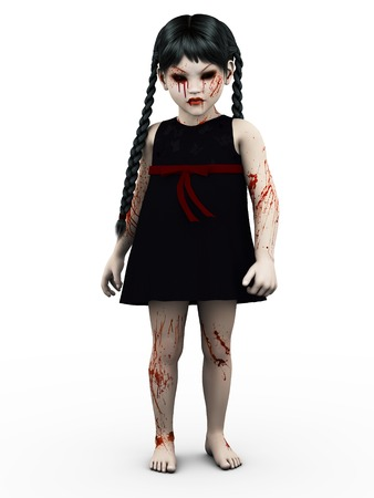 niños malos: Una mirada malvado gótico, sangre cubrió pequeña niña. Fondo blanco.