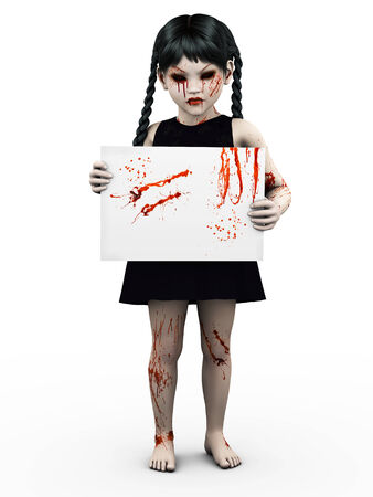 An evil gothic looking, blood covered small girl holding a blank sign. White background.