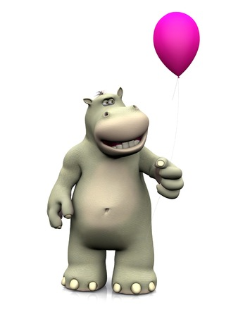 hippo cartoon: A smiling cartoon hippo holding a pink balloon in his hand. White background.