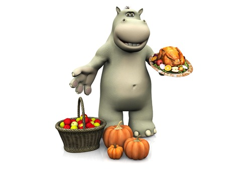 roasted turkey: A smiling cartoon hippo holding a roasted turkey and celebrating Thanksgiving. White background.