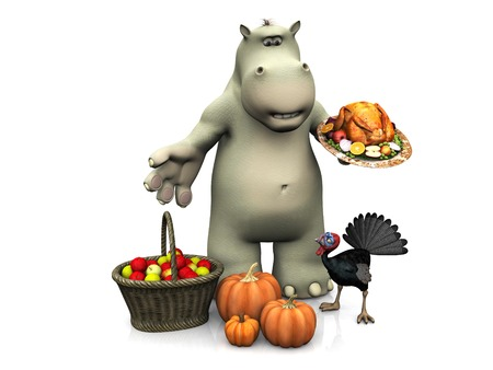 roasted turkey: A smiling cartoon hippo holding a roasted turkey and celebrating Thanksgiving. A live turkey looking very angry is staring at the hippo. White background.